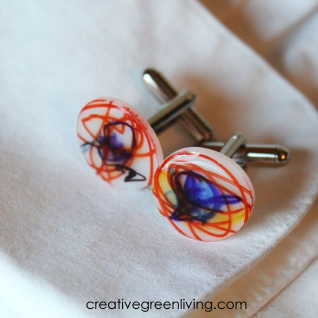 DIY Fathers Day Gifts - Father's Day Shrinky Dink Cuff Links - Homemade Presents and Gift Ideas for Dad - Cute and Easy Things to Make For Father
