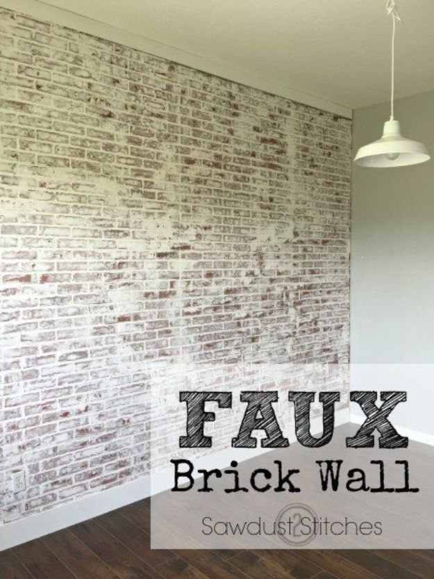 DIY Faux Finishes for Walls - Faux Brick Wall - Step by Step Tutorials for Do It Yourself Faux Finish Wall Textures - Rustic, Colour, Tuscan Style, Simple Metallic, Sponge Painting Techniques, Roller and Drag Texture