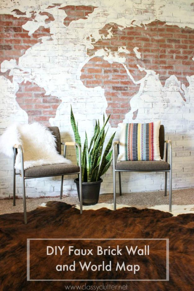 DIY Faux Finishes for Walls - Faux Brick World Map - Step by Step Tutorials for Do It Yourself Faux Finish Wall Textures - Rustic, Colour, Tuscan Style, Simple Metallic, Sponge Painting Techniques, Roller and Drag Texture