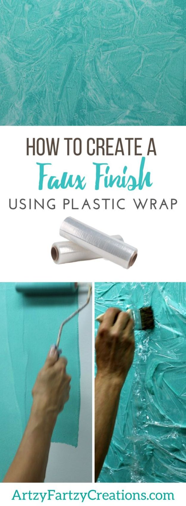 DIY Faux Finishes for Walls - Faux Finish with Plastic Wrap - Step by Step Tutorials for Do It Yourself Faux Finish Wall Textures - Rustic, Colour, Tuscan Style, Simple Metallic, Sponge Painting Techniques, Roller and Drag Texture