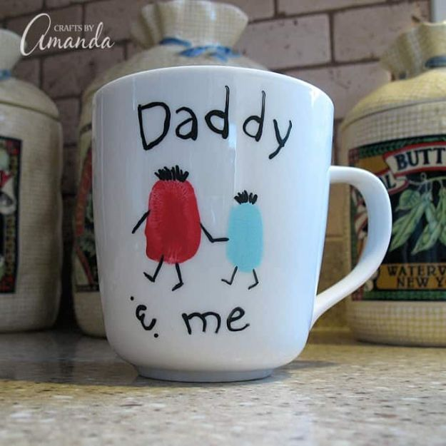 DIY Fathers Day Gifts - Fingerprint Daddy & Me Coffee Mug - Homemade Presents and Gift Ideas for Dad - Cute and Easy Things to Make For Father