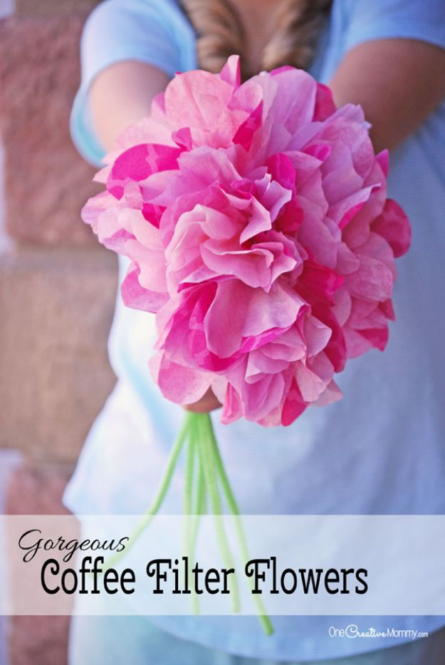 Cheap Mothers Day Gifts - Gorgeous Coffee Filter Flowers - Homemade Presents and Gift Ideas for Mom - Cute and Easy Things to Make For Mother