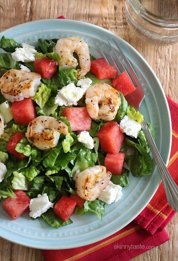 Watermelon Recipes - Grilled Shrimp and Watermelon Chopped Salad - Recipe Ideas for Watermelon - Easy and Quick Drinks, Salad, Party Foods, Cake, Margaritas