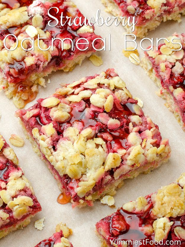 Best Strawberry Recipes -Healthy Breakfast Strawberry Oatmeal Bars - Easy Recipe Ideas With Fresh Strawberries - Dessert, Cakes, Breakfast, Muffins, Pie, Salad