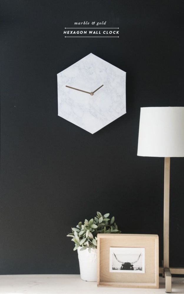 DIY Clocks - Hexagon Marble Wall Clock - Easy and Cheap Home Decor Ideas and Crafts for Wall Clock - Cool Bedroom and Living Room Decor, Farmhouse and Modern