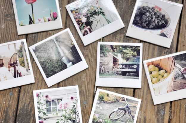 Cheap Mothers Day Gifts - Homemade Polaroid Coasters - Homemade Presents and Gift Ideas for Mom - Cute and Easy Things to Make For Mother