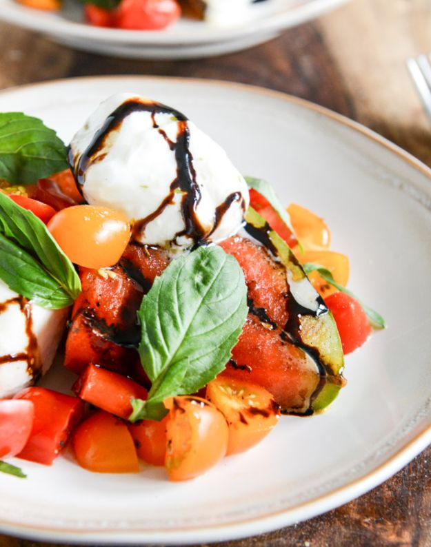 Watermelon Recipes - Honey Grilled Watermelon Caprese Salad - Recipe Ideas for Watermelon - Easy and Quick Drinks, Salad, Party Foods, Cake, Margaritas