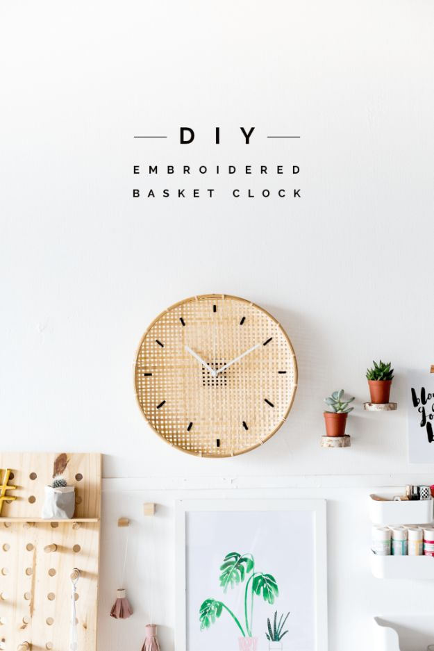 DIY Clocks - Make a DIY Embroidered Basket Clock - Easy and Cheap Home Decor Ideas and Crafts for Wall Clock - Cool Bedroom and Living Room Decor, Farmhouse and Modern