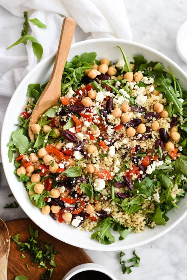 Quinoa Recipes - Mediterranean Quinoa Salad - Easy Salads, Side Dishes and Healthy Recipe Ideas Made With Quinoa - Vegetable and Grain To Serve For Lunch, Dinner and Snack