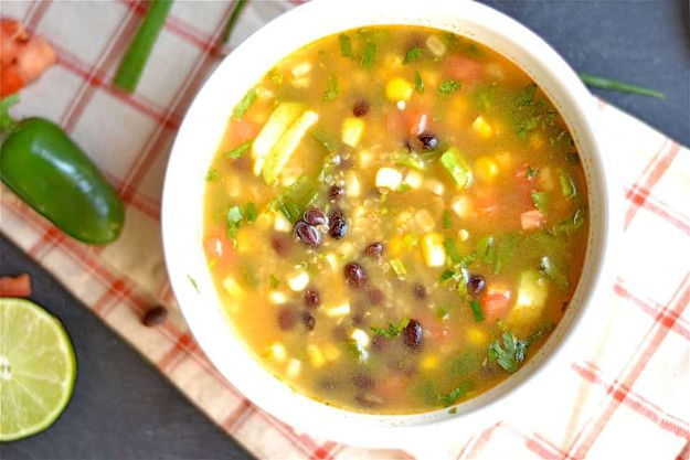 Quinoa Recipes - Mexican Black Bean Quinoa Soup - Easy Salads, Side Dishes and Healthy Recipe Ideas Made With Quinoa - Vegetable and Grain To Serve For Lunch, Dinner and Snack
