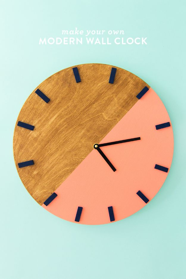 DIY Clocks - Modern Wall Clock - Easy and Cheap Home Decor Ideas and Crafts for Wall Clock - Cool Bedroom and Living Room Decor, Farmhouse and Modern