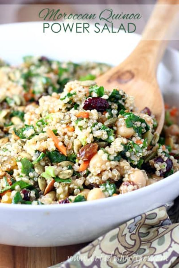 Quinoa Recipes - Moroccan Quinoa Power Salad - Easy Salads, Side Dishes and Healthy Recipe Ideas Made With Quinoa - Vegetable and Grain To Serve For Lunch, Dinner and Snack