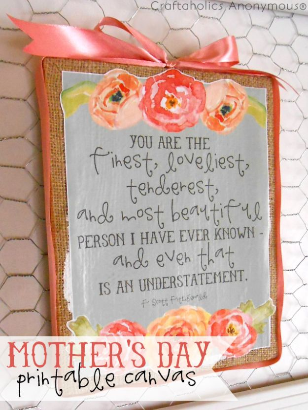 Cheap Mothers Day Gifts - Mother's Day Printable Canvas - Homemade Presents and Gift Ideas for Mom - Cute and Easy Things to Make For Mother