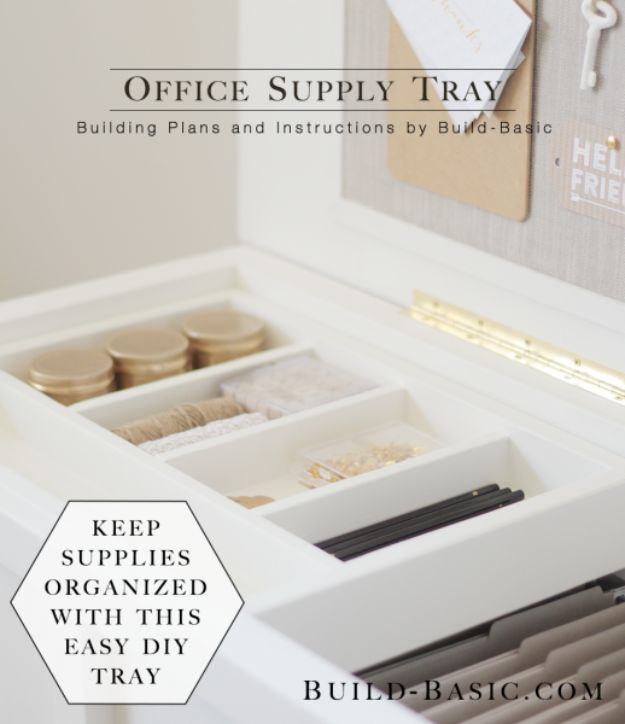 Easy Woodworking Projects - Office Supply Tray - Cool DIY Wood Projects for Beginners - Easy Project Ideas and Plans for Homemade Gifts and Decor