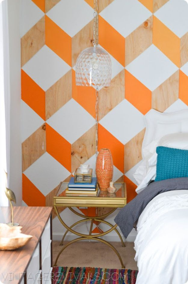 DIY Faux Finishes for Walls - Orange and Wood Ombre 3D Cube Wall - Step by Step Tutorials for Do It Yourself Faux Finish Wall Textures - Rustic, Colour, Tuscan Style, Simple Metallic, Sponge Painting Techniques, Roller and Drag Texture
