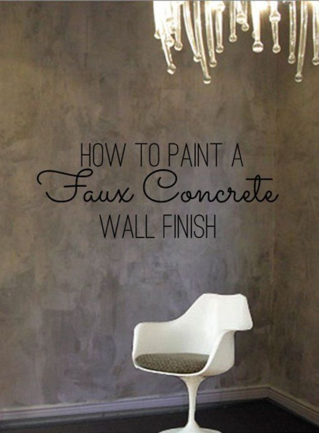 DIY Faux Finishes for Walls - Paint a Faux Concrete Wall Finish - Step by Step Tutorials for Do It Yourself Faux Finish Wall Textures - Rustic, Colour, Tuscan Style, Simple Metallic, Sponge Painting Techniques, Roller and Drag Texture
