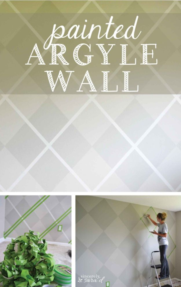 DIY Faux Finishes for Walls - Painted Argyle Wall - Step by Step Tutorials for Do It Yourself Faux Finish Wall Textures - Rustic, Colour, Tuscan Style, Simple Metallic, Sponge Painting Techniques, Roller and Drag Texture