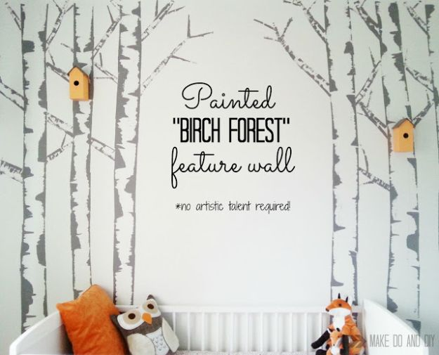 DIY Faux Finishes for Walls - Painted Birch Forest Feature Wall - Step by Step Tutorials for Do It Yourself Faux Finish Wall Textures - Rustic, Colour, Tuscan Style, Simple Metallic, Sponge Painting Techniques, Roller and Drag Texture