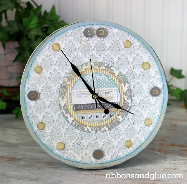 DIY Clocks - Pick a Pattern Table Accent Clock - Easy and Cheap Home Decor Ideas and Crafts for Wall Clock - Cool Bedroom and Living Room Decor, Farmhouse and Modern