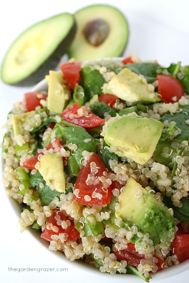 Quinoa Recipes - Quinoa Avocado Spinach Power Salad - Easy Salads, Side Dishes and Healthy Recipe Ideas Made With Quinoa - Vegetable and Grain To Serve For Lunch, Dinner and Snack