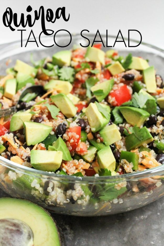 Quinoa Recipes - Quinoa Taco Salad - Easy Salads, Side Dishes and Healthy Recipe Ideas Made With Quinoa - Vegetable and Grain To Serve For Lunch, Dinner and Snack
