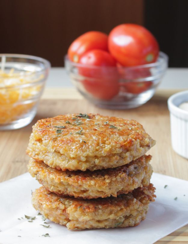 Quinoa Recipes - Quinoa Veggie Burgers - Easy Salads, Side Dishes and Healthy Recipe Ideas Made With Quinoa - Vegetable and Grain To Serve For Lunch, Dinner and Snack