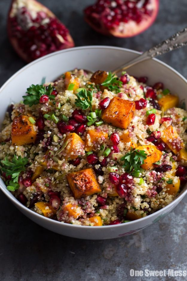 Quinoa Recipes - Roasted Butternut Squash Quinoa Salad - Easy Salads, Side Dishes and Healthy Recipe Ideas Made With Quinoa - Vegetable and Grain To Serve For Lunch, Dinner and Snack