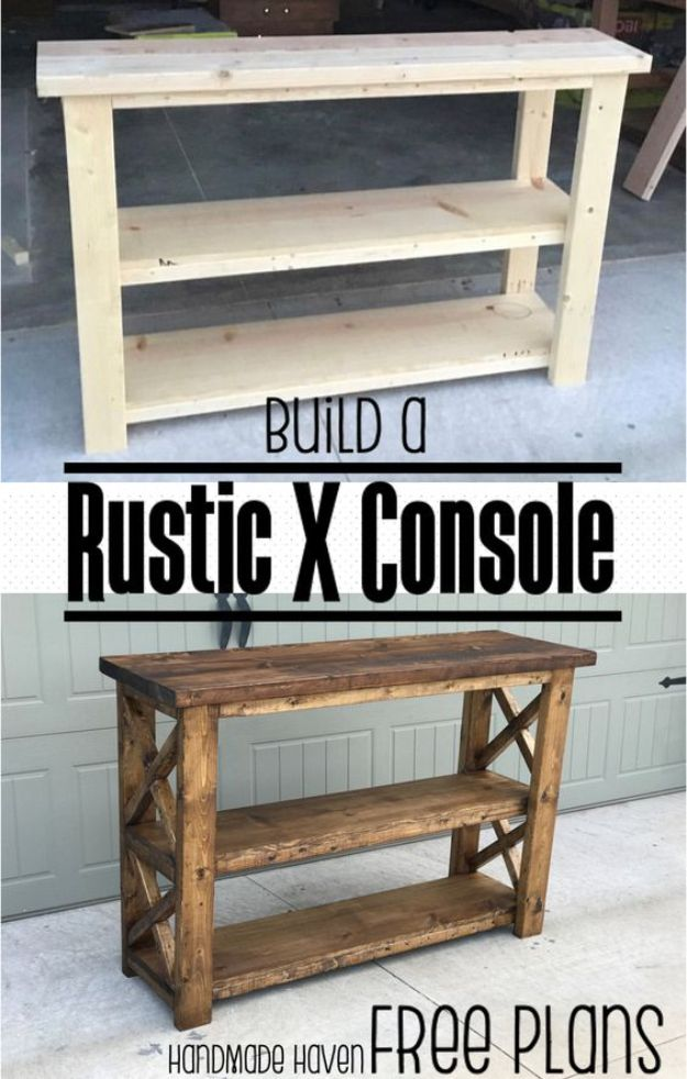 Easy Woodworking Projects - Rustic X Console - Cool DIY Wood Projects for Beginners - Easy Project Ideas and Plans for Homemade Gifts and Decor