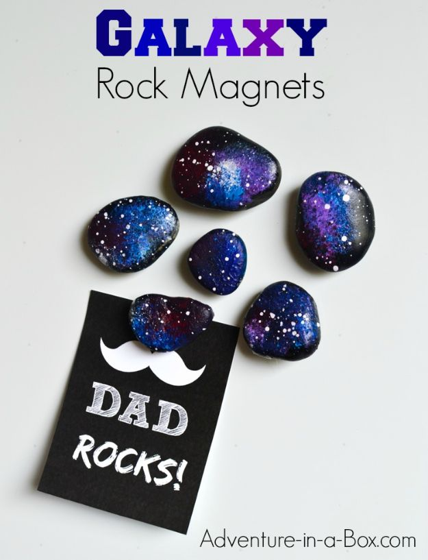 DIY Fathers Day Gifts - Space Rocks Fridge Magnets - Homemade Presents and Gift Ideas for Dad - Cute and Easy Things to Make For Father