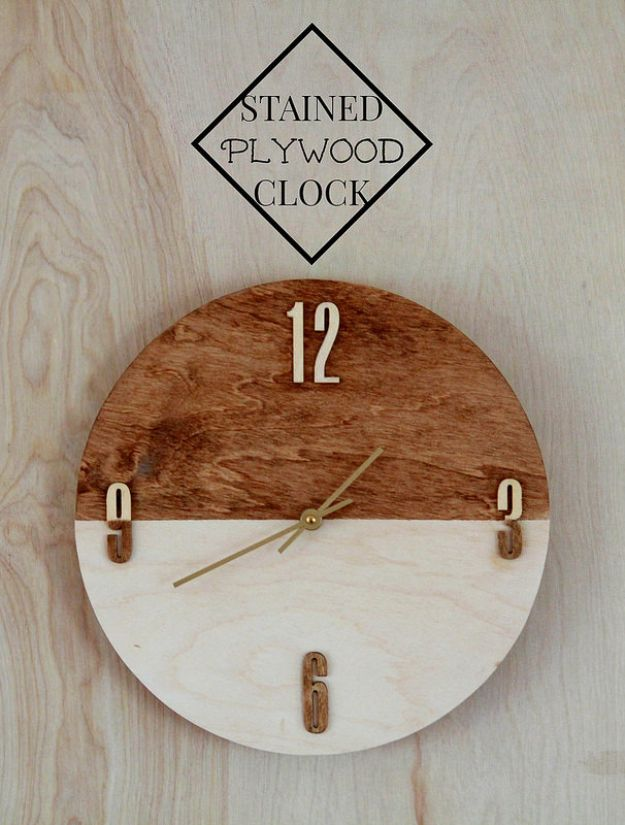 DIY Clocks - Stained Plywood Clock - Easy and Cheap Home Decor Ideas and Crafts for Wall Clock - Cool Bedroom and Living Room Decor, Farmhouse and Modern