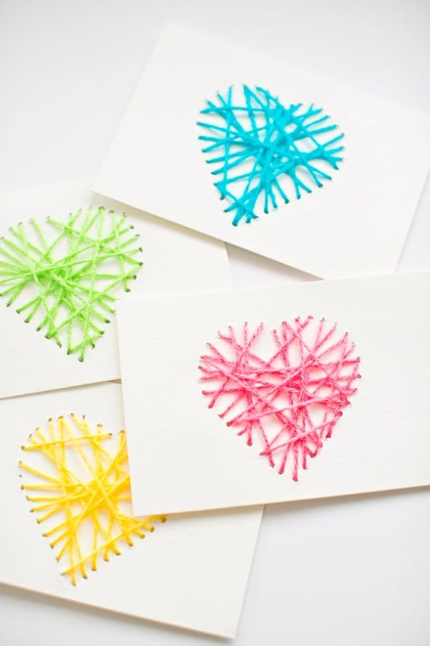 Cheap Mothers Day Gifts - String Heart Yarn Cards - Homemade Presents and Gift Ideas for Mom - Cute and Easy Things to Make For Mother