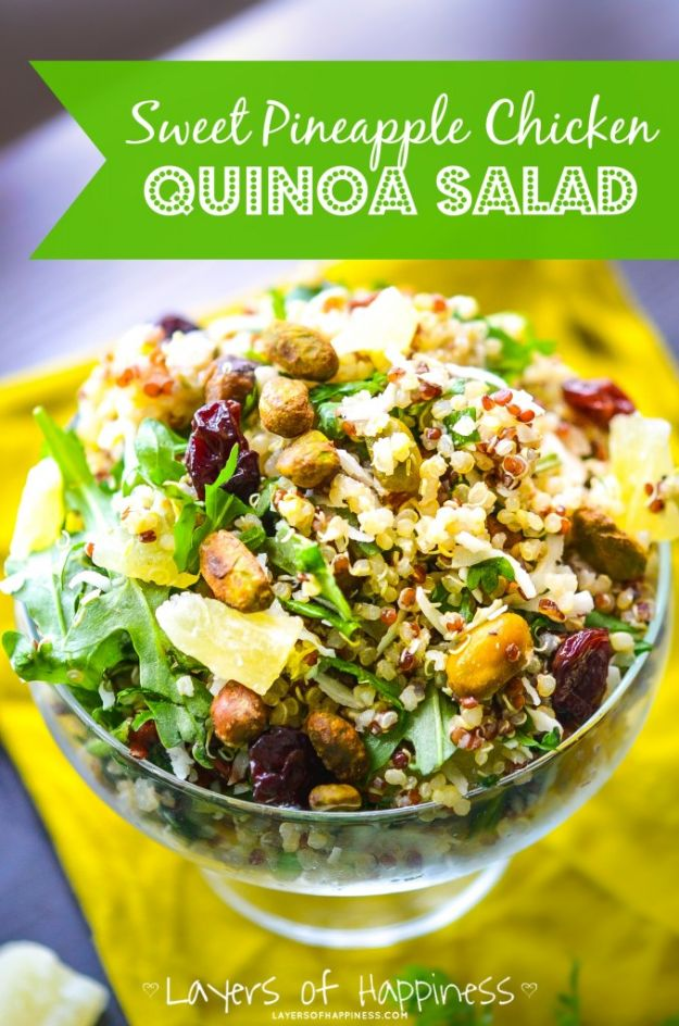 Quinoa Recipes - Sweet Pineapple Chicken Quinoa Salad - Easy Salads, Side Dishes and Healthy Recipe Ideas Made With Quinoa - Vegetable and Grain To Serve For Lunch, Dinner and Snack