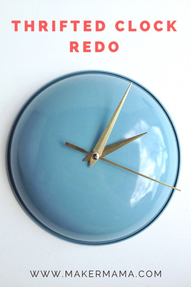 DIY Clocks - Thrifted Clock Redo - Easy and Cheap Home Decor Ideas and Crafts for Wall Clock - Cool Bedroom and Living Room Decor, Farmhouse and Modern