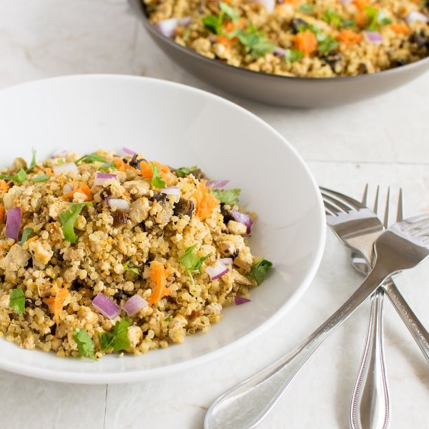 Quinoa Recipes - Tofu Mushroom Quinoa Scramble - Easy Salads, Side Dishes and Healthy Recipe Ideas Made With Quinoa - Vegetable and Grain To Serve For Lunch, Dinner and Snack