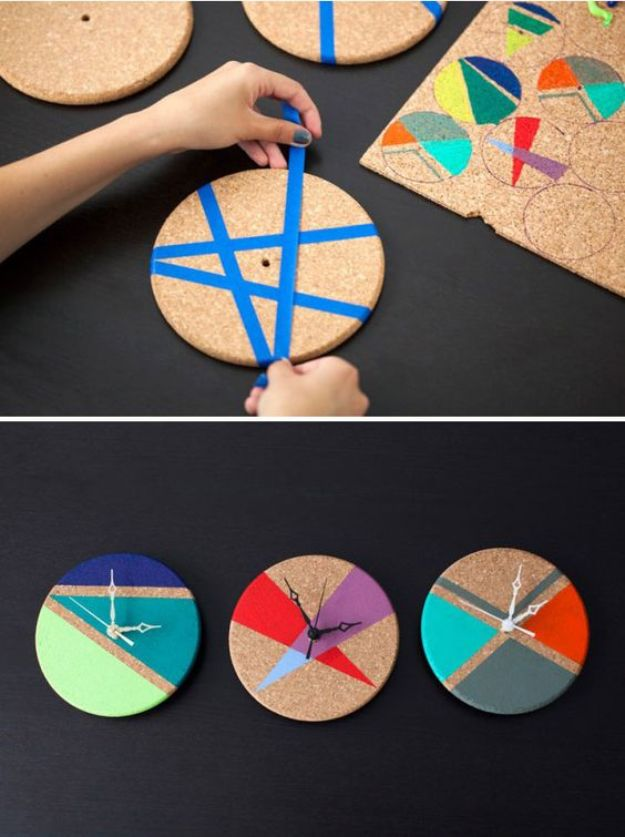 DIY Clocks - Turn Cork Trivets into Color Block Clocks - Easy and Cheap Home Decor Ideas and Crafts for Wall Clock - Cool Bedroom and Living Room Decor, Farmhouse and Modern