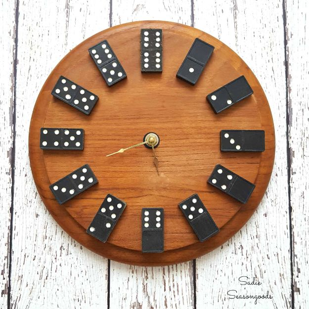 DIY Clocks - Upcycled Vintage Domino Clock - Easy and Cheap Home Decor Ideas and Crafts for Wall Clock - Cool Bedroom and Living Room Decor, Farmhouse and Modern