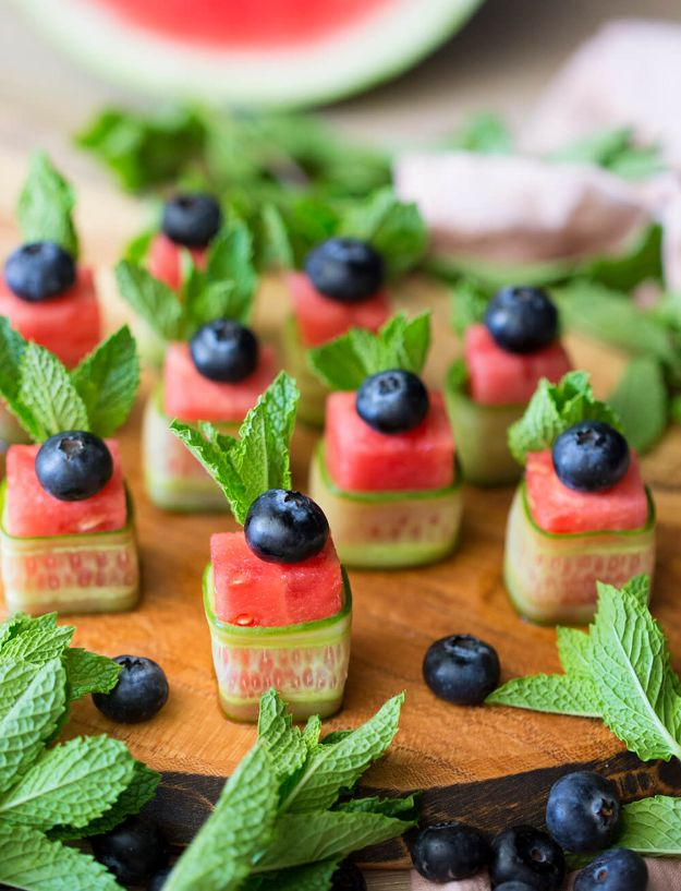 Watermelon Recipes - Watermelon Canapés - Recipe Ideas for Watermelon - Easy and Quick Drinks, Salad, Party Foods, Cake, Margaritas