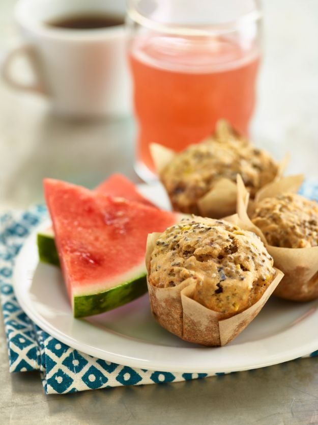 Watermelon Recipes - Watermelon Chia Seed Muffins - Recipe Ideas for Watermelon - Easy and Quick Drinks, Salad, Party Foods, Cake, Margaritas
