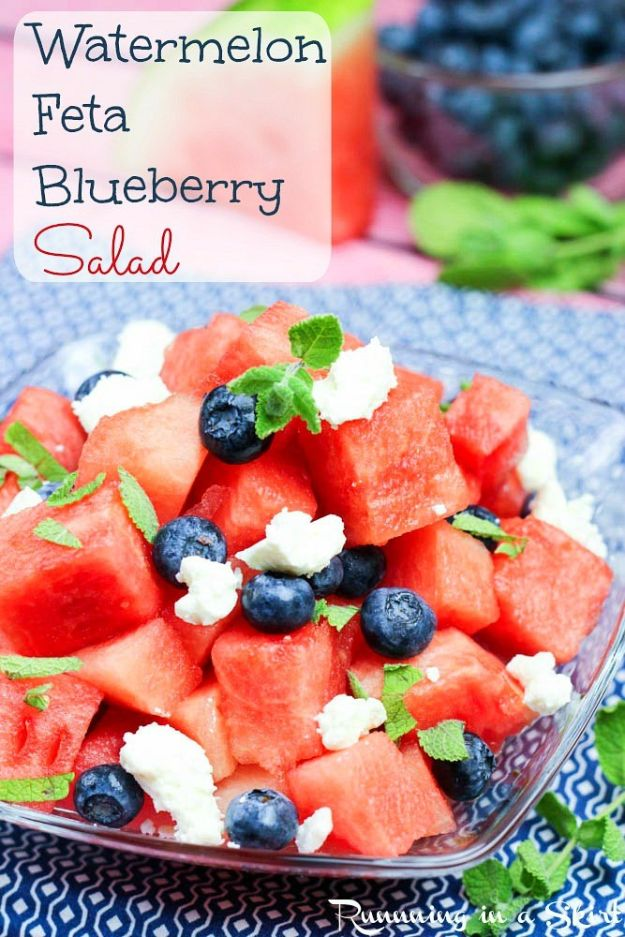Watermelon Recipes - Watermelon Feta Blueberry Salad - Recipe Ideas for Watermelon - Easy and Quick Drinks, Salad, Party Foods, Cake, Margaritas