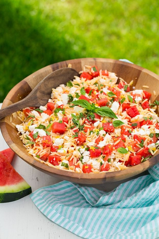 Watermelon Recipes - Watermelon Feta Orzo Salad with Lemon and Basil - Recipe Ideas for Watermelon - Easy and Quick Drinks, Salad, Party Foods, Cake, Margaritas
