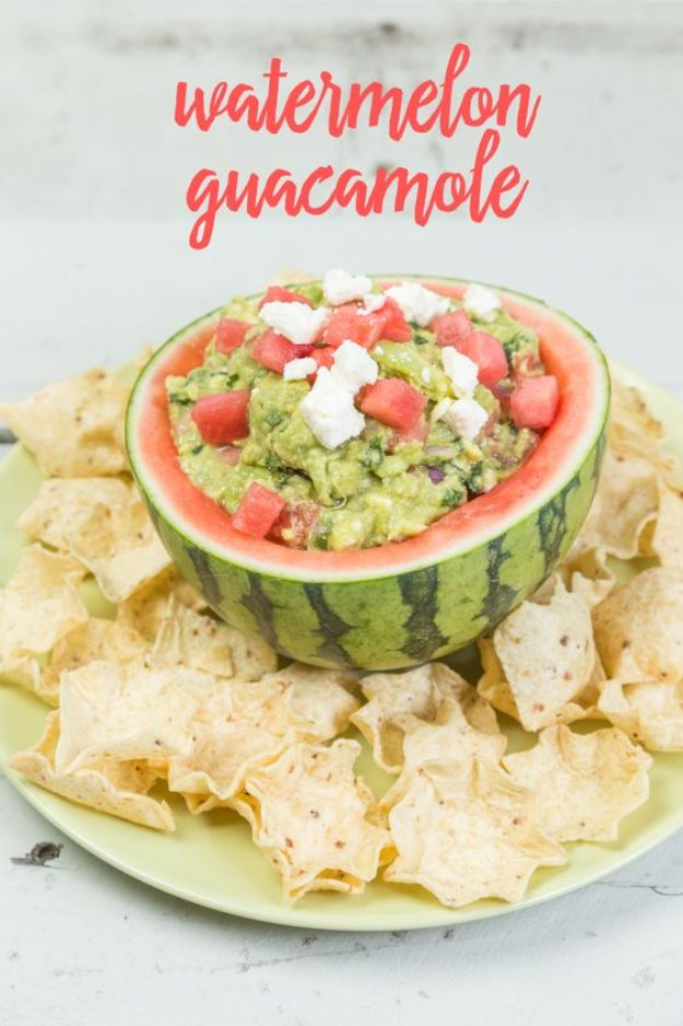 Watermelon Recipes - Watermelon Guacamole - Recipe Ideas for Watermelon - Easy and Quick Drinks, Salad, Party Foods, Cake, Margaritas