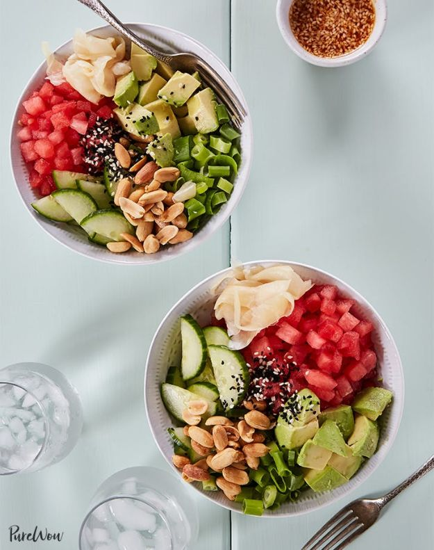 Watermelon Recipes - Watermelon Poke Bowls - Recipe Ideas for Watermelon - Easy and Quick Drinks, Salad, Party Foods, Cake, Margaritas