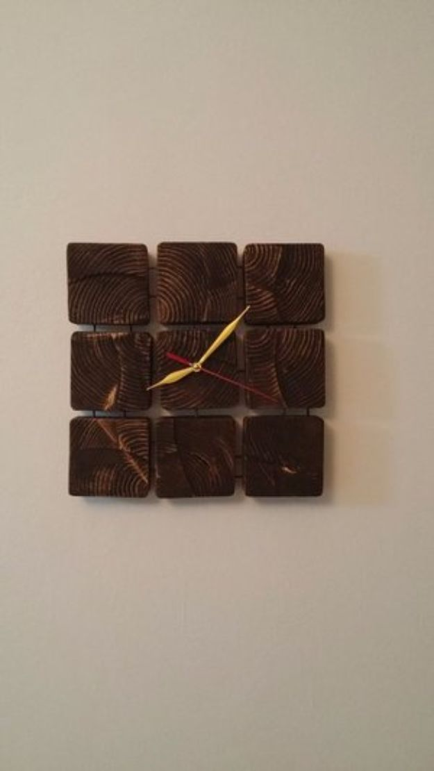 DIY Clocks - Wooden Block Clock - Easy and Cheap Home Decor Ideas and Crafts for Wall Clock - Cool Bedroom and Living Room Decor, Farmhouse and Modern