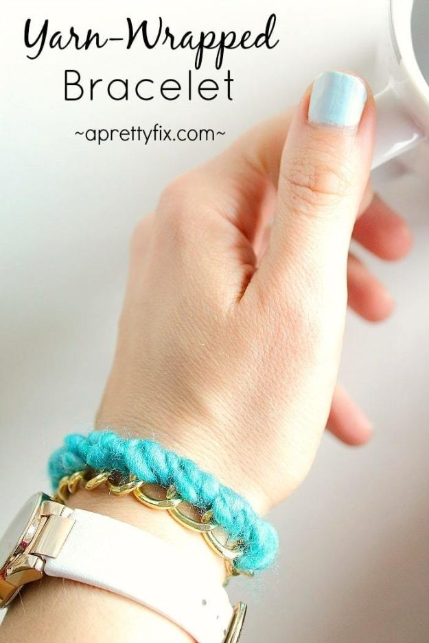 Cheap Mothers Day Gifts - Yarn-Wrapped Bracelet - Homemade Presents and Gift Ideas for Mom - Cute and Easy Things to Make For Mother
