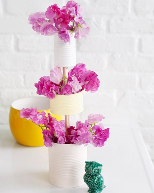 DIY Ideas With Tin Cans - 3 Tiered Tin Can Vase - Cheap and Easy Organizing Projects and Crafts Made With A Tin Can - Cool Teen Craft Tutorials and Home Decor
