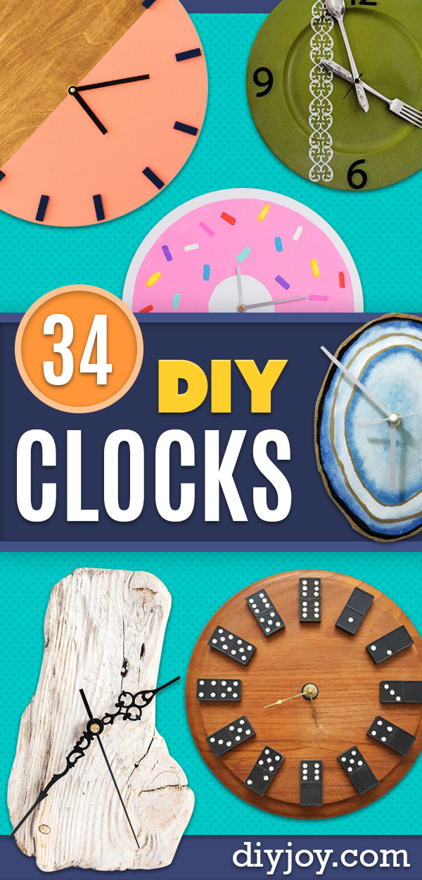 DIY Clocks - Easy and Cheap Home Decor Ideas and Crafts for Wall Clock - Cool Bedroom and Living Room Decor, Farmhouse and Modern