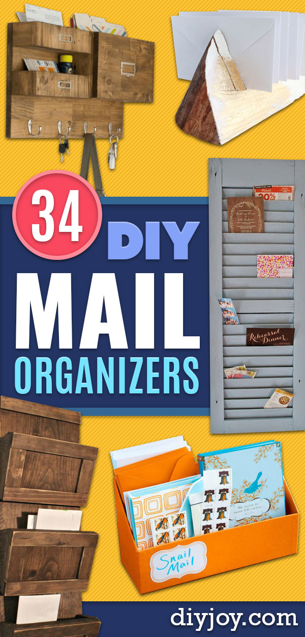 DIY Mail Organizers - Cheap and Easy Ideas for Getting Organized - Creative Home Decor on A Budget - Farmhouse, Modern and Rustic Mail Sorter, Organizer