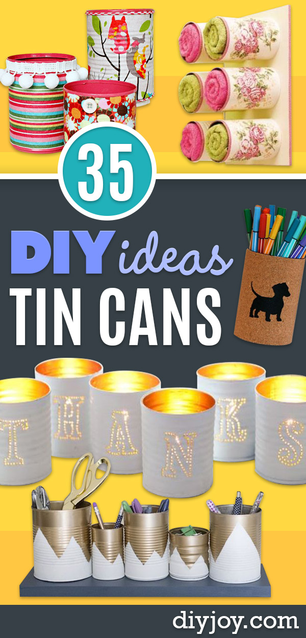 DIY Ideas With Old Tin Cans - Rustic Farmhouse Decor Tutorials and Projects Made With An Old Tin Can - Easy Vintage Shelving, Wall Art, Picture Frames and Home Decor for Kitchen, Living Room and Bathroom - Creative Country Crafts, Craft Room Storage, Silverware Holder, Rustic Wall Art and Accessories to Make and Sell