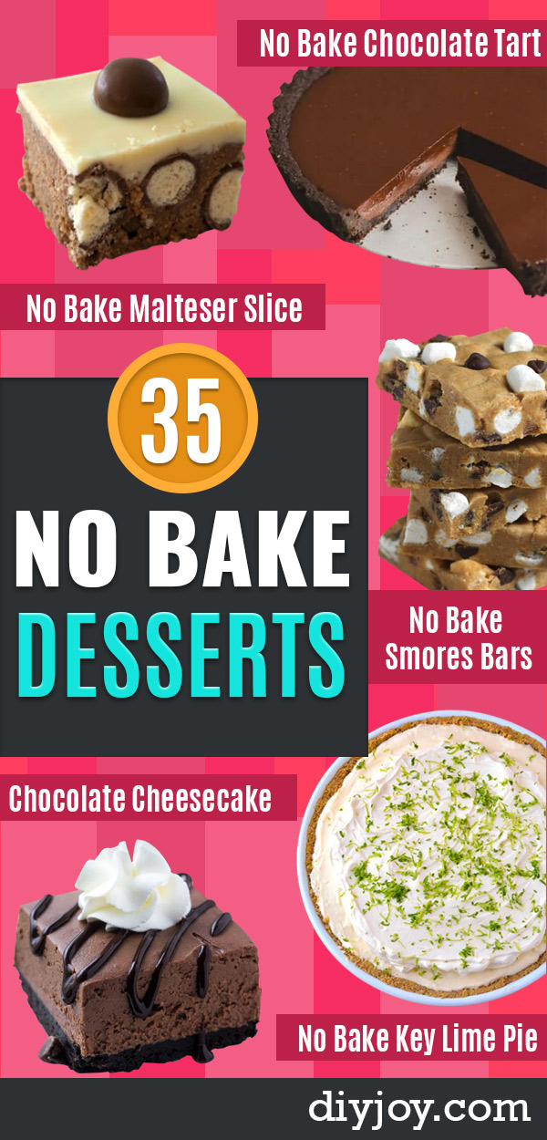 No Bake Desserts | Quick No Bake Dessert Recipes and Ideas for Easy Sweets You Can Make Without Baking - Healthy Cookies and Pie, Bars