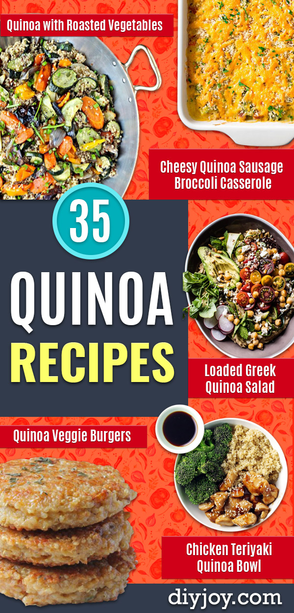 Quinoa Recipes - Easy Salads, Side Dishes and Healthy Recipe Ideas Made With Quinoa - Vegetable and Grain To Serve For Lunch, Dinner and Snack